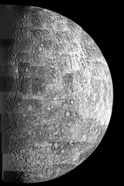 mariner 10 photo of mercury outbound view