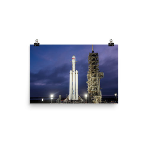 SpaceX Falcon Heavy On Launch Pad At Night Poster