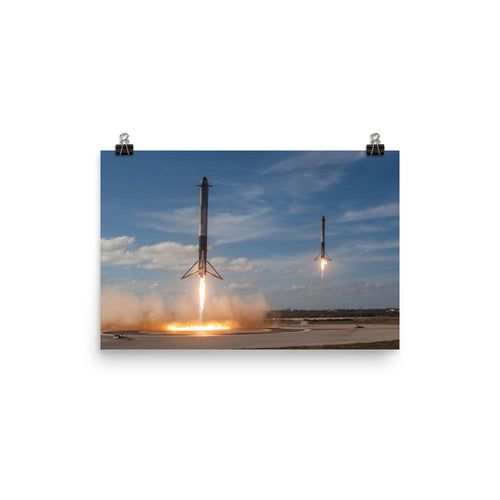 SpaceX Falcon Heavy Side Cores Landing Poster
