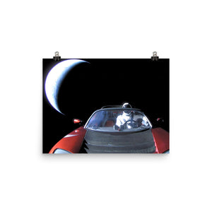SpaceX Starman in Tesla Roadstar with Earth Poster