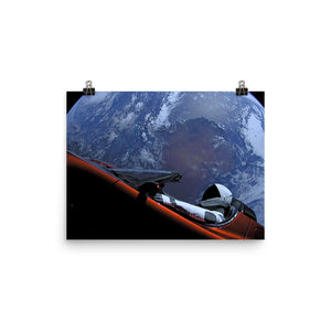 Spacex Starman In Tesla Above Earth Poster