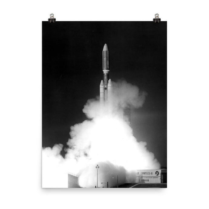 Voyager 1 Launch Black & White Poster