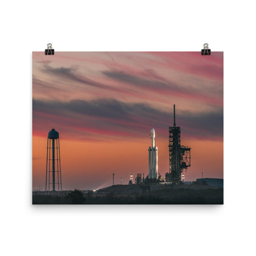 SpaceX Falcon Heavy At Dawn Poster