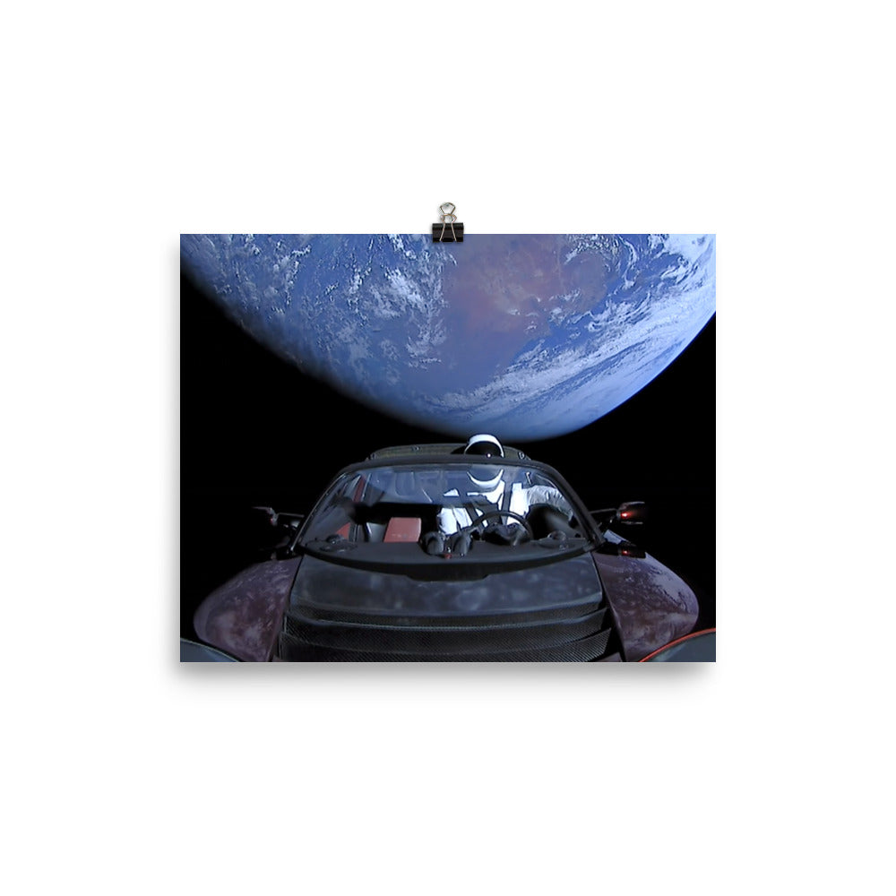 SpaceX Starman in Tesla Roadstar Leaving Earth Poster