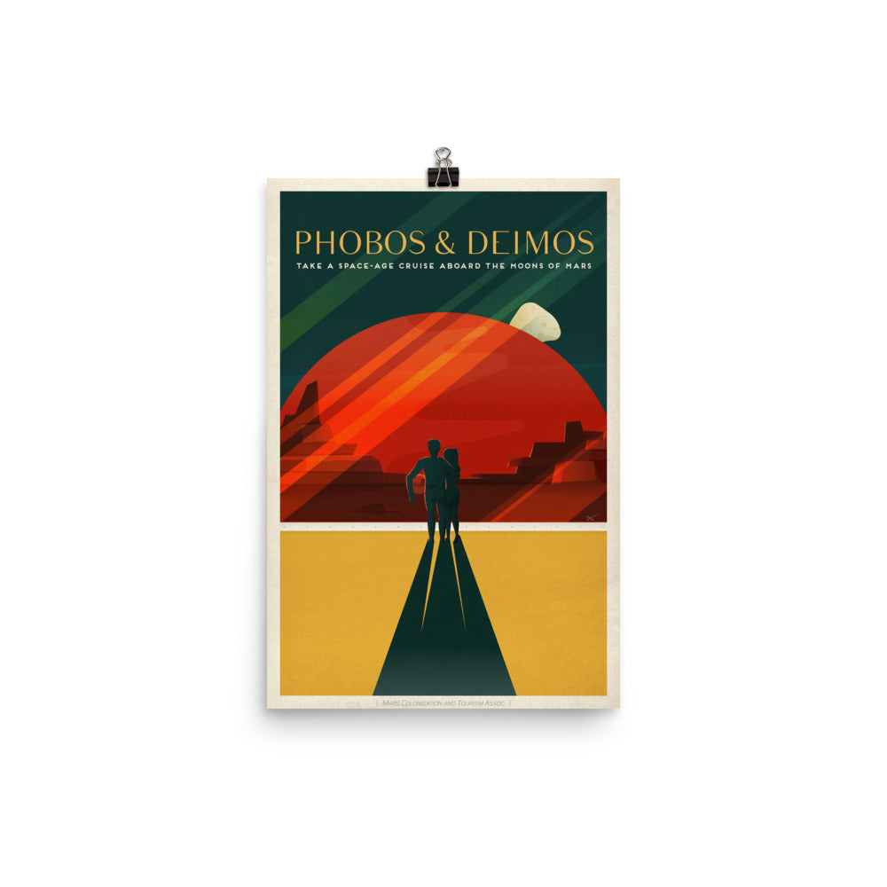Phobos and Deimos Retro Travel Poster