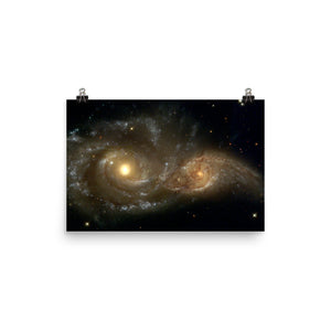 Two Spiral Galaxies Colliding Poster