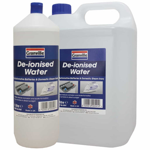 Granville Battery Top Up Water (De-ionised) - 1 ltr, 5 Ltr, 25 ltr - JAR UK Industries