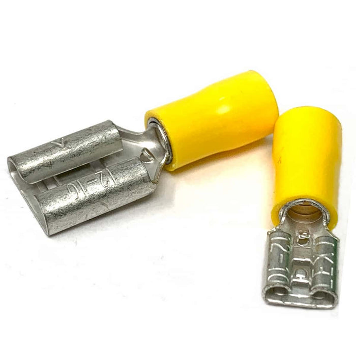 Female Blade Terminals (Yellow) - Semi Insulated - 2.5 - 6.0mm² Cable (Pack 10, 25, 100, 1000)