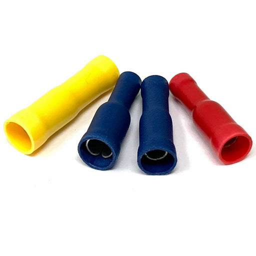 Female Bullet Terminals (Red, Blue, Yellow) - (Pack 10, 25, 100 or 1000) Jar Uk Industries