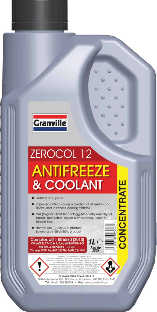 Granville Zerocol 12 Red Antifreeze - 1 Litre - JAR UK Industries