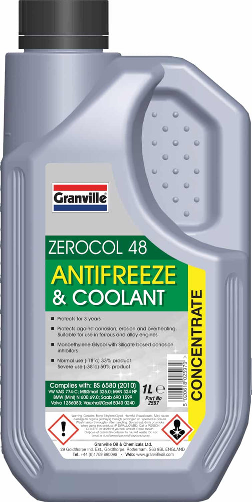 Granville Zerocol 48 Green Antifreeze - 1 Litre - JAR UK Industries