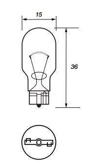 921 Bulb - Capless Wedge - Tail / Interior - W2.1 x 9.5d - 12v 21w - Autolamps (E1) - JAR UK Industries