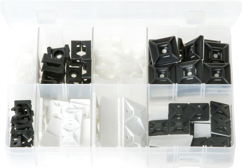 Cable Tie Bases & Cradle Mounts - Assorted Box - JAR UK Industries