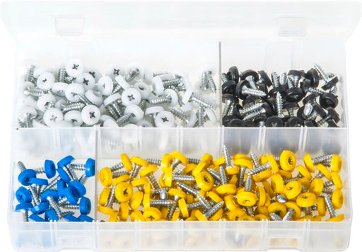 Number Plate Fasteners with Plastic Head - Short - Assorted Box - JAR UK Industries