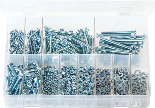 Machine Screws with Nuts & Washers, Pan Head, Slotted - Metric - Assorted Box - JAR UK Industries