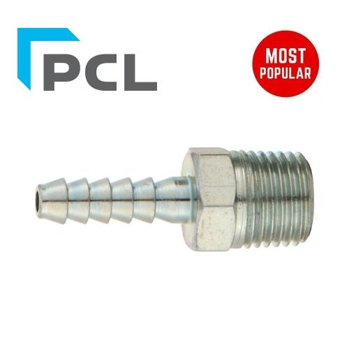 "PCL Male Screwed Tailpieces - 1/4"" BSPT - 6.35mm (1/4"") - Jar Uk Industries"