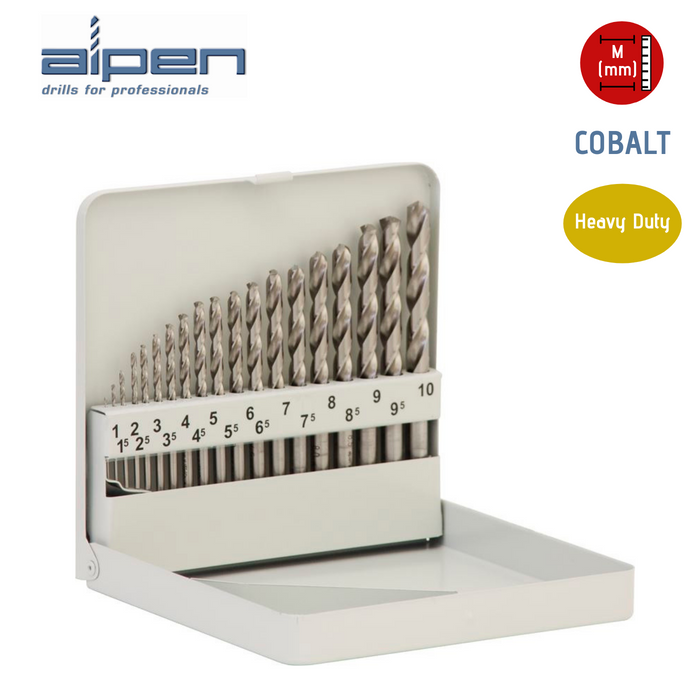 ALPEN Cobalt HSS Jobber Drill Set - Metric - 19 Pieces - (1.0mm to 10mm) - JAR UK Industries
