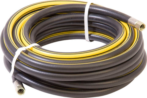 "Air Line Assemblies with 1/4"" BSP Swivel Nuts - Black Rubber with Yellow Stripe - Choose Hose I.D. - JAR UK Industries"