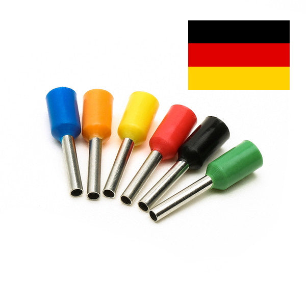 Cord End / Bootlace Terminals (Single Entry) German Colours (Pack 10, 100 or 1000)