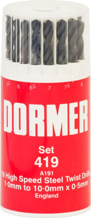 DORMER A100 HSS Jobber Twist Drill Set No. 419 - 19 Pieces - (1.0mm to 10.0mm) - JAR UK Industries