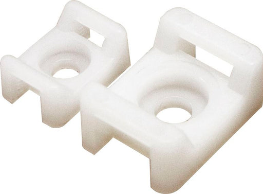 Cable Tie Bases / Cradle - Screw Fixing - White (Choose Size) - JAR UK Industries