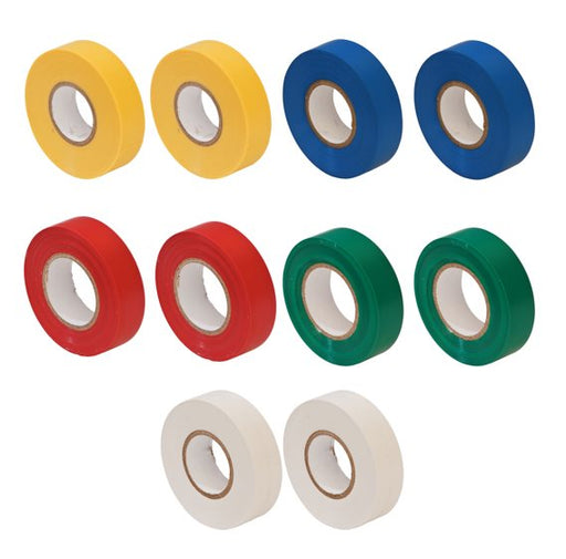 PVC Insulation Tape (10 Pack) Coloured Assortment - JAR UK Industries