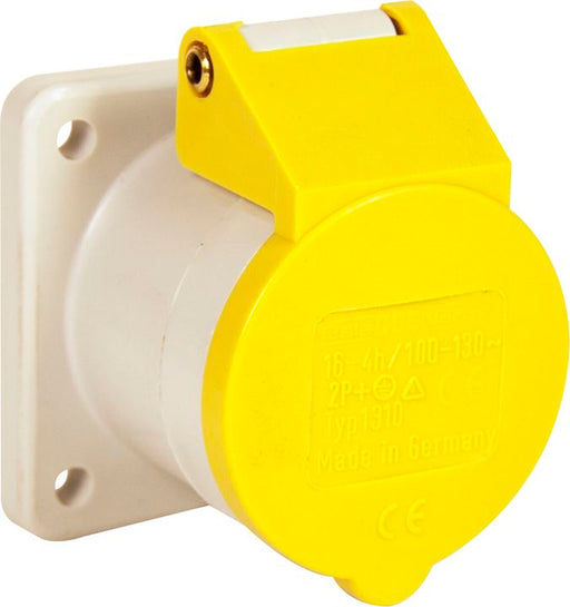 110v Panel Socket - Yellow - 16A - (60mm² Flange) - JAR UK Industries