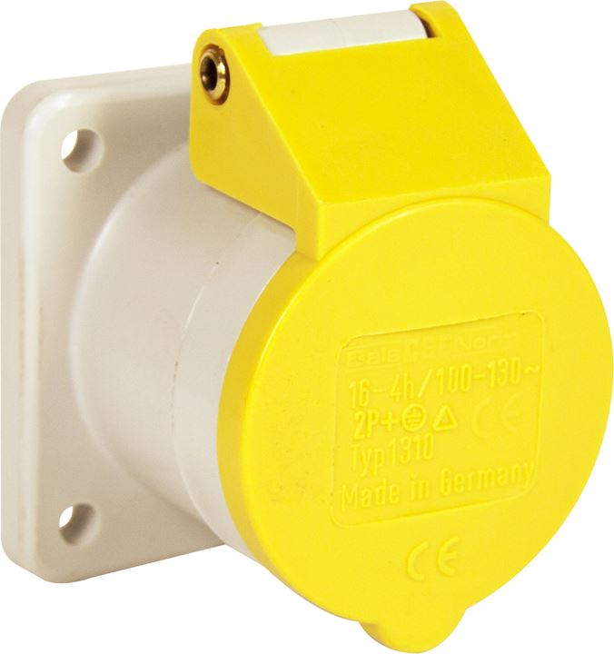 110v Panel Socket - Yellow - 16A - (75mm² Flange) - JAR UK Industries