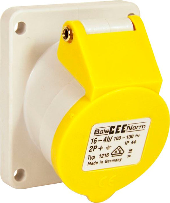 110v Angled Panel Socket - Yellow - 16A - (70 x 85mm Flange) - JAR UK Industries