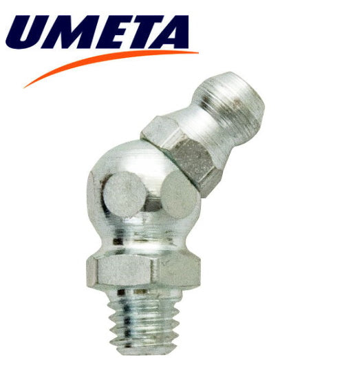 "Grease Nipples Angled 45 Degrees - 1/4"" BSP - Imperial - UMETA - JAR UK Industries"