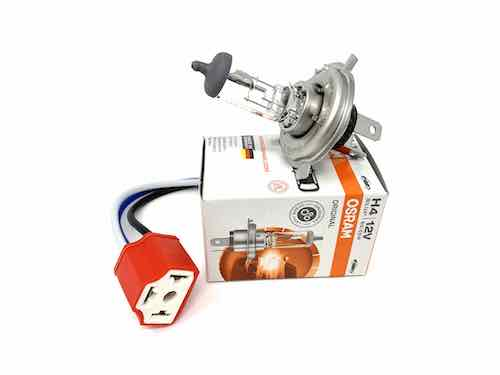 Ceramic H4 Headlamp Bulb Holder & Osram Halogen Headlight | TX1 | TX2 | TX4 - JAR UK Industries