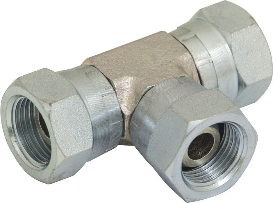 "Hydraulic BSPP Equal Tee - Female  - 3/8"" - JAR UK Industries"