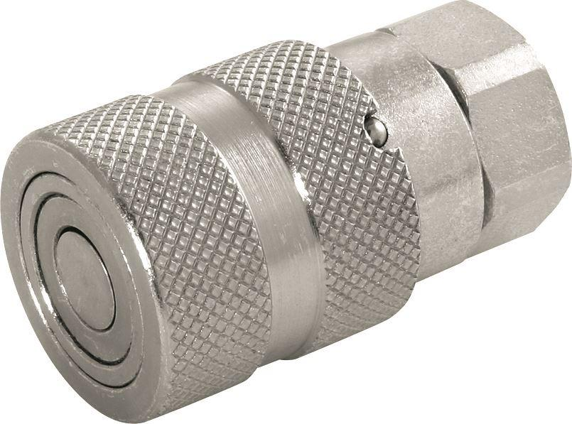 "Hydraulic Steel Flat Face Coupling - Carrier (Female) - 1/4"" - JAR UK Industries"