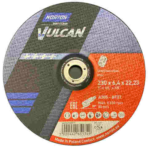 "Metal Grinding Discs - 230mm (9"") x 6.4mm x 22mm - Norton Vulcan - JAR UK Industries"