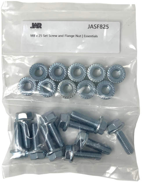 M8 x 25mm Set Screws and Flange Nuts | Essentials - JAR UK Industries