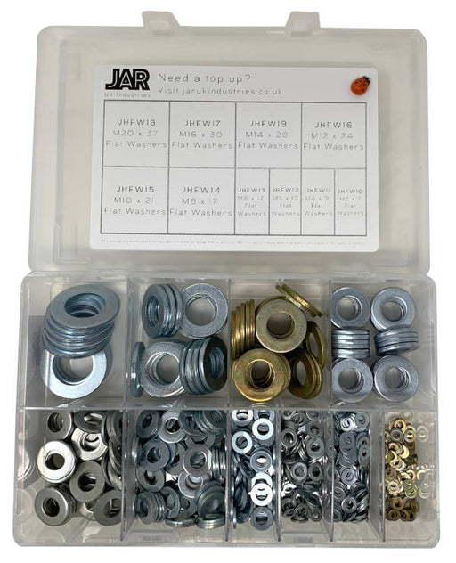 Flat Washer Collection - Heavy Duty | M3 to M20 | Assortment - JAR UK Industries