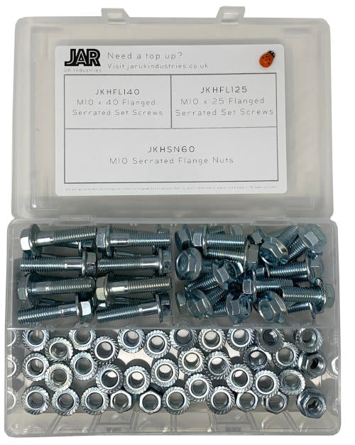 M10 Serrated Flange Nut and Set Screws Collection | Assortment - JAR UK Industries
