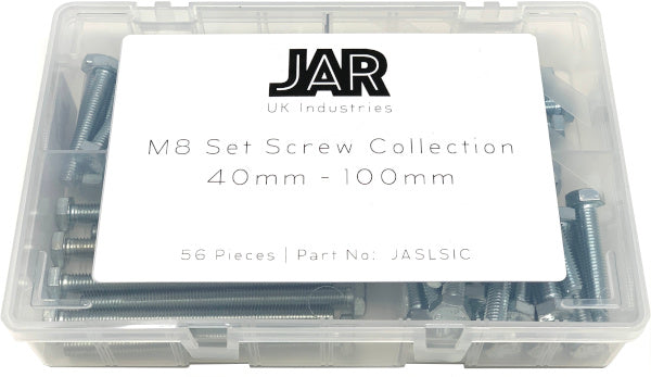 M8 Set Screw Collection | 40mm - 100mm | Assortment - JAR UK Industries