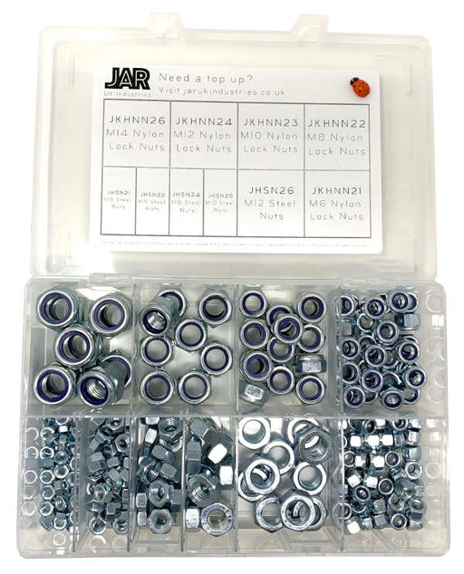 Nylon Lock Nut & Steel Nut Collection | Assortment - JAR UK Industries