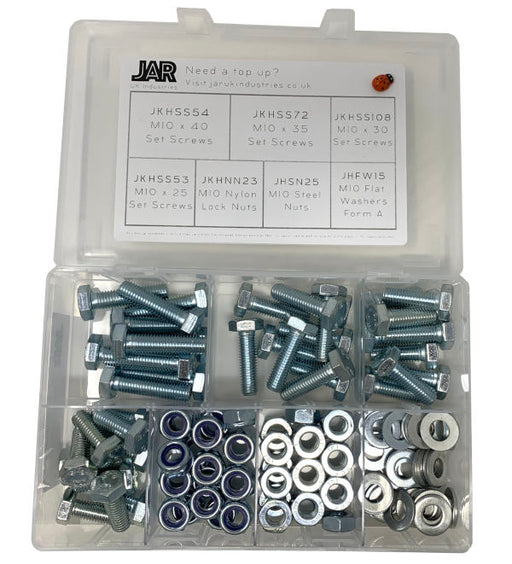 M10 Set Screw, Nylon Nut, Steel Nut & Washer Collection | Assortment - JAR UK Industries