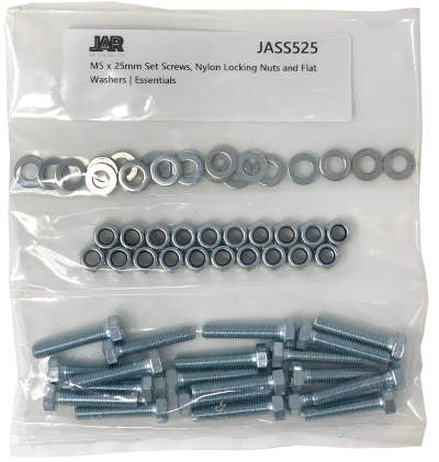M5 x 25mm Set Screws, Nylon Locking Nuts and Flat Washers | Essentials - JAR UK Industries