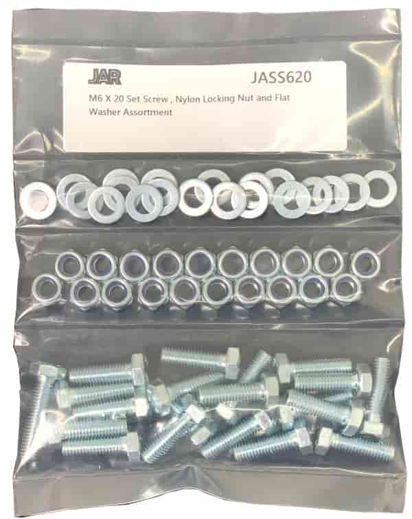 M6 x 20mm Set Screws, Nylon Locking Nuts and Flat Washers | Essentials - JAR UK Industries
