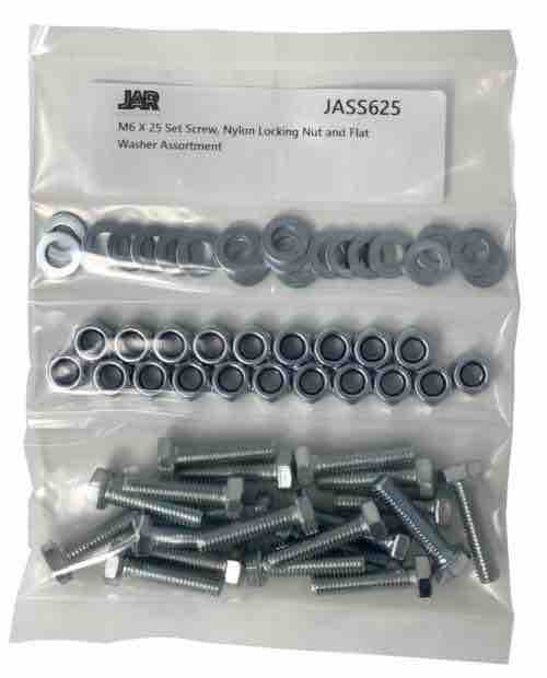 M6 x 25mm Set Screws, Nylon Locking Nuts and Flat Washers | Essentials - JAR UK Industries