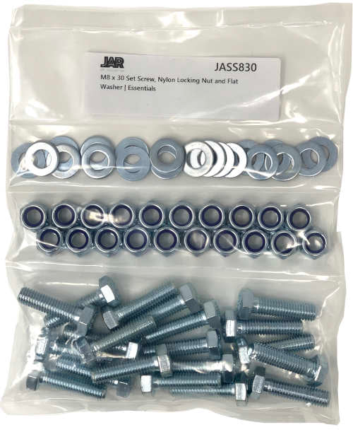 M8 x 30mm Set Screws, Nylon Locking Nuts and Flat Washers | Essentials - JAR UK Industries