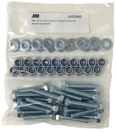 M8 x 40mm Set Screws, Nylon Locking Nuts and Flat Washers | Essentials - JAR UK Industries