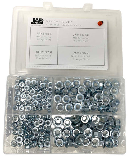Serrated Flange Nut Collection | M5 to M10 |  Assortment - JAR UK Industries