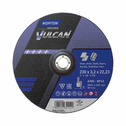 "Cutting Discs - 230mm (9"") x 3.2mm - Norton Vulcan - JAR UK Industries"