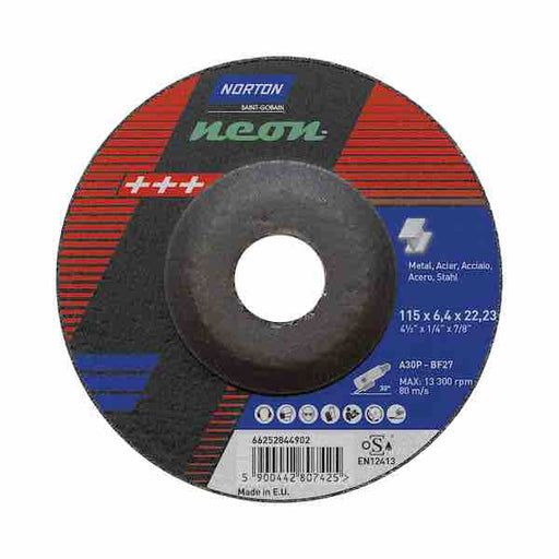 "Grinding Discs - 115mm (4 1/2"") x 6.4mm - Norton Neon - JAR UK Industries"
