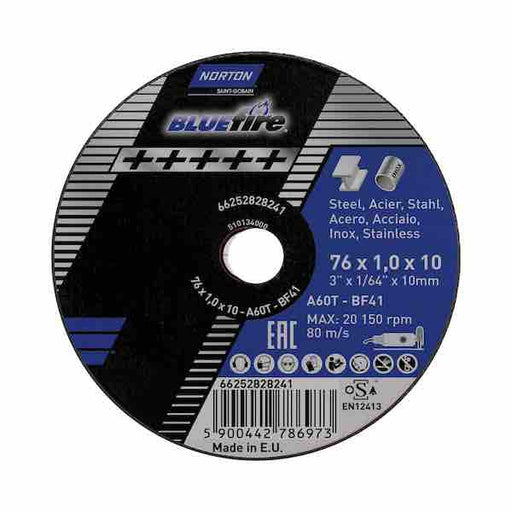 "Mini Cutting Disc 76mm (3"") x 1mm x 10mm - Norton Bluefire - JAR UK Industries"