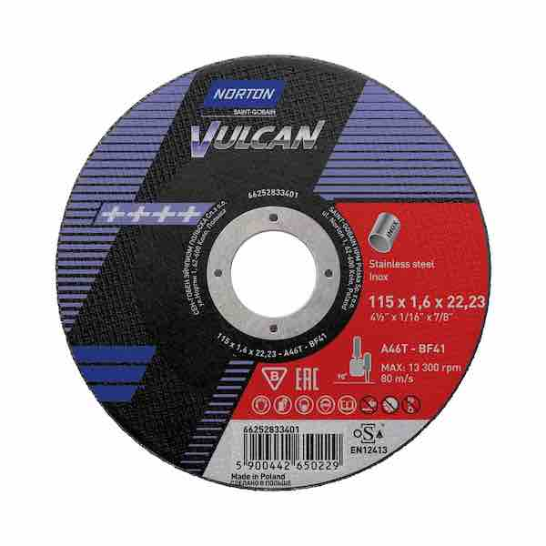"Micro Cutting Discs - 115mm (4 1/2"") x 1.6mm - Norton Vulcan - JAR UK Industries"
